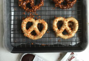 CHOCOLATE PEANUT BUTTER COVERED PRETZELS