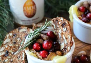 CRANBERRY ALMOND BUTTER BAKED BRIE