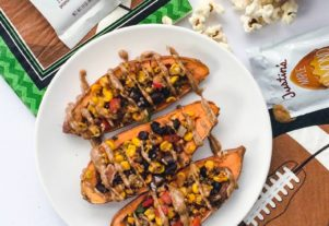 SWEET POTATO SKINS WITH MAPLE ALMOND BUTTER